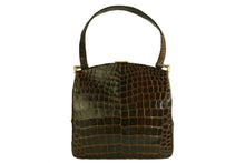 KORET brown crocodile skin frame handbag with single handle