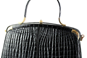 "Double belly ""sauvage"" crocodile skin frame handbag"