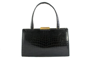 LANCEL black crocodile skin handbag with single handle