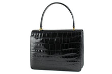 ORLAN jet black crocodile skin flap handbag with central clasp