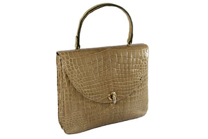 LOEWE toasted beige crocodile skin bag with semicircular flap