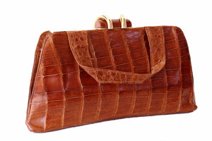 INDUSTRIA ARGENTINA cognac color gathered crocodile skin handbag
