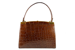 COMTESSE noisette color crocodile skin frame handbag