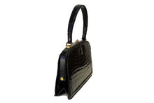 Small black crocodile skin handbag with skin lined frame