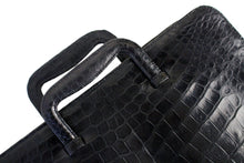 Black crocodile briefcase bag with sliding handles