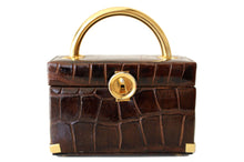 KORET chocolate brown crocodile skin box purse