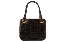 Brown baby crocodile skin frame handbag with twin handles
