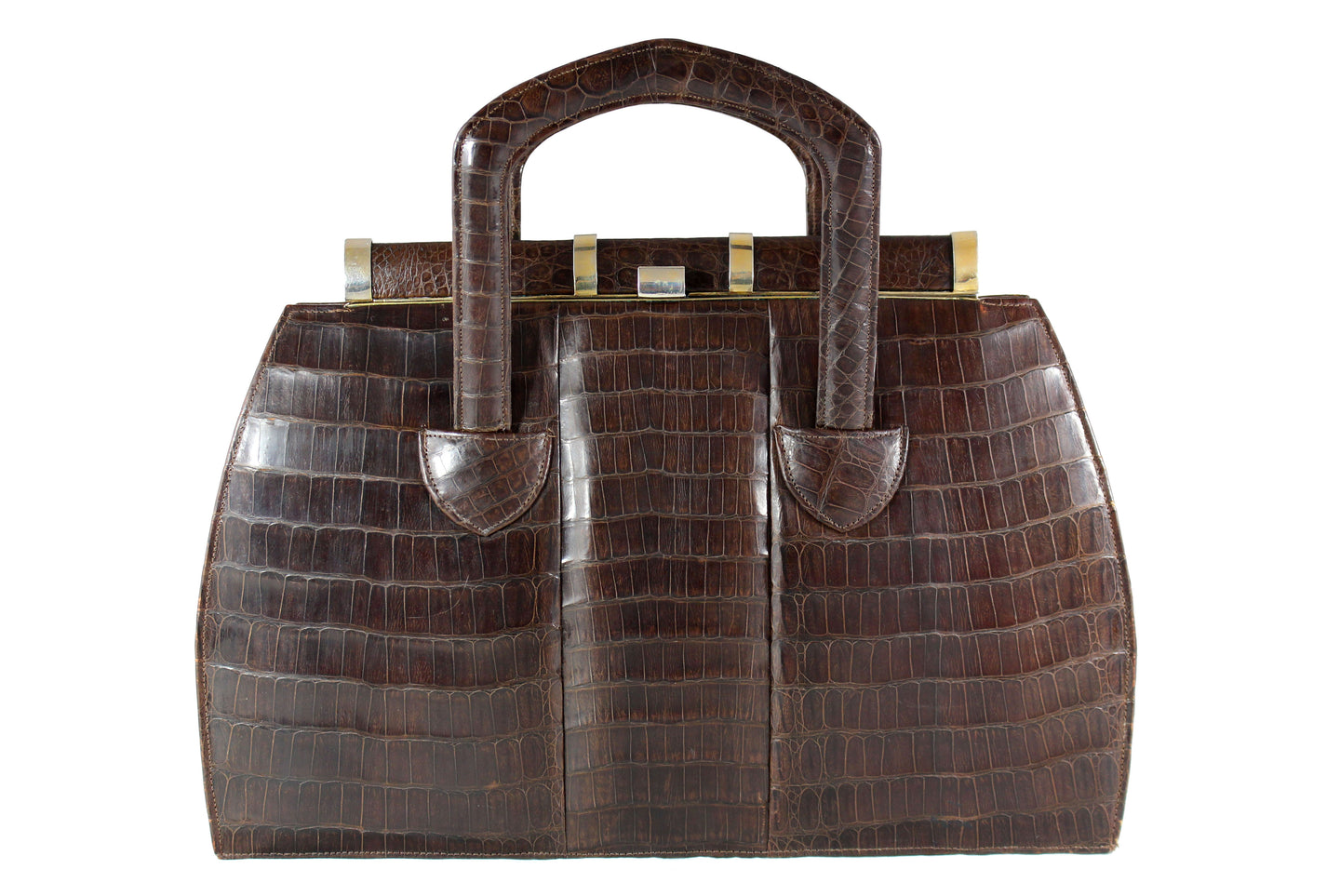 Art deco brown crocodile skin handbag with sliding handles