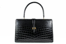 Black crocodile skin frame handbag with front fastening