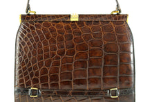 DEAUVILLE chocolate brown crocodile skin handbag