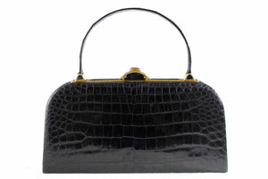 "STRAETER ""LITE ON"" handbag black baby crocodile skin"