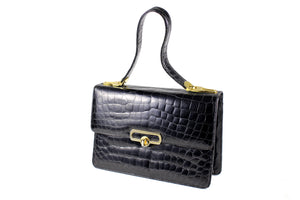 Sizeable black crocodile skin semi long strap handle flap handbag