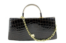 EL CORTE INGLÉS brown crocodile handbag with metal handle