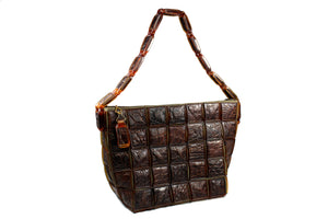 brown handbag in crocodile skin tiles
