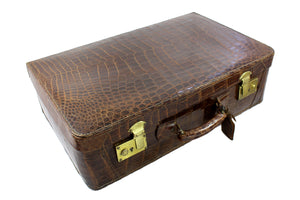 F. ROICH brown crocodile skin suitcase