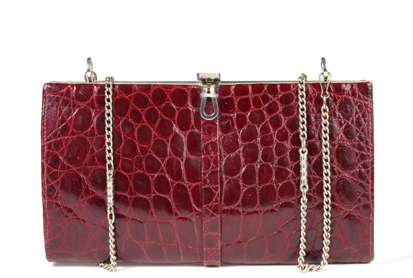 WIEN ruby red crocodile skin clutch