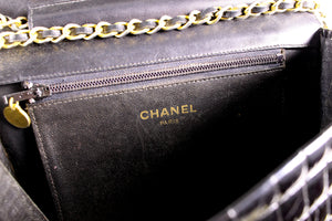 CHANEL black crocodile flap shoulder bag