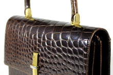Brown crocodile skin with top handle XL handbag