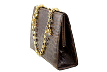 Chocolate brown baby crocodile skin handbag chain handle
