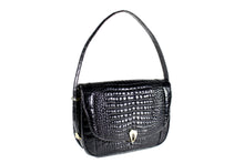 Black crocodile skin handbag with adjustable handle
