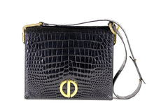 CHRISTIAN DIOR black crocodile skin shoulder bag