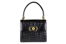 "Jet black large ""sauvage"" crocodile skin flap handbag"
