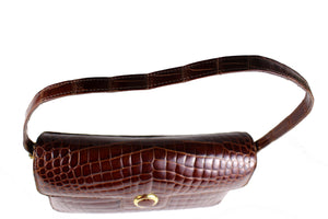Rectangular cognac crocodile skin shoulder bag