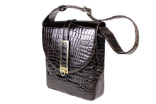 LOEWE large brown crocodile skin shoulder bag
