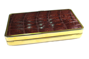 Brown crocodile skin clutch rectangular frame