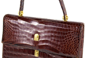 LOEWE brown crocodile flap handbag