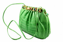 JUDITH LEIBER green crocodile skin jewel frame clutch handbag