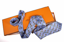 HERMÈS beaver and pine blue silk tie