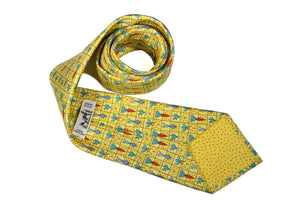 HERMÈS vegetables yellow silk tie