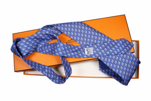 HERMÈS suitcase blue silk tie