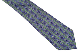 HERMÈS geometric green silk tie