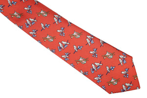 HERMÈS birds red silk tie