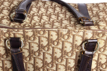 CHRISTIAN DIOR brown canvas logo Boston bag