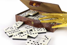 Domino game set brown crocodile skin case