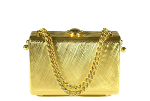 RODO clutch gold tone box bag with sliding chain