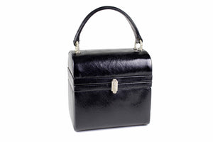 MORRIS MOSKOWITZ black leather box-purse