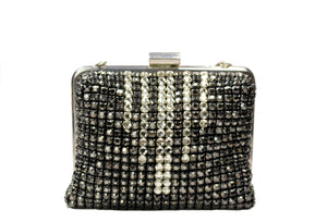 Bicolor rhinestone clutch with silver chain handle