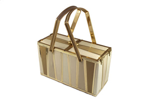 GOLDSTROM lunchbox handbag in golden metal and leather