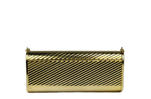 Gold metal flap clutch with diagonal engraving