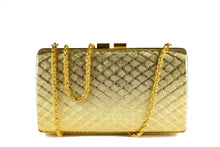 Gold metal clutch with diamond shaped engraving