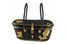 MIDAS OF MIAMI black wicker and beads bag