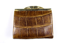 Tobacco crocodile skin coin purse