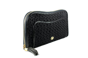 EMPORIO ARMANI black fabric embroidered handbag