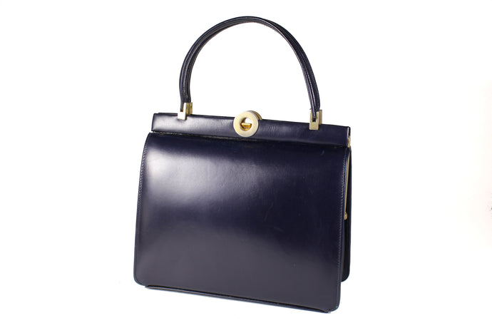 Dark blue leather frame handbag