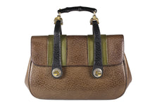 Peccary leather bamboo handle handbag