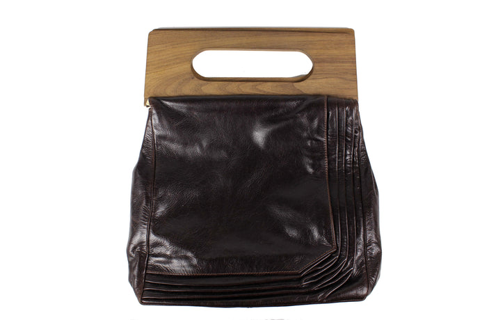 Brown handbag with wood handles